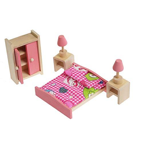 Xiton Möbel Spielzeug Puppenhaus Schlafzimmer-Möbel Set Bett + Tisch + Lampe + Schrank Decke Rosa