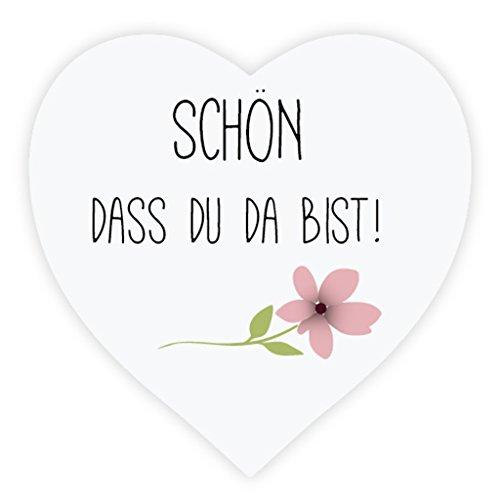 Blume Hochzeitsaufkleber - Schön, dass du da bist - 3.8 cm Liebe-Herz Papieraufkleber Etiketten für die Hochzeit,Gastgeschenk,Tischdeko,Flaschen,Tüten,Briefen,Einladungen - UNI 044 ()