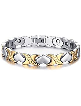 JewelryWe Schmuck Edelstahl Armband Magnetarmband Liebe Herz Link Gesundheit Magnet Partnerarmband Damenarmband...
