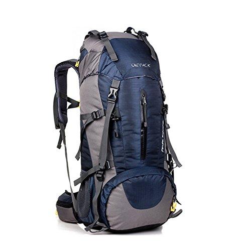 Zaino da escursionismo, 50L (45+ 5) campeggio zaino/zaino da viaggio/zaini trekking/casual zaino Zaino borsa con copertura impermeabile per sport all' aria aperta arrampicata Mountaineer 60x 30x 20 deep Blue