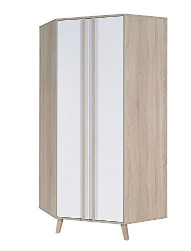 Movian Moselle 2-türiger Kleiderschrank, 196 x 90 x 90cm, Sonoma-Eiche/Alpinweiß Farbe