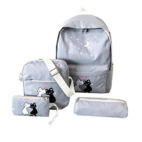 VECOLE Rucksäcke Damen Vierteiliger Rucksack aus Canvas mit Katzendruck für Studenten auf dem Campus(Grau)