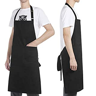BONTHEE Adjustable Chef Bib Apron Kitchen Grilling Apron for Women Men Chef - Black