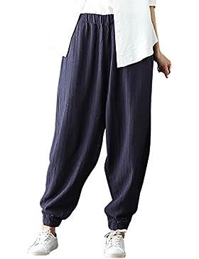 Feoya Pantalones Bombachos Anchos Loose Pants con Piernas Sualetas Harem de Mujeres Casuales Vintage para Viajes...