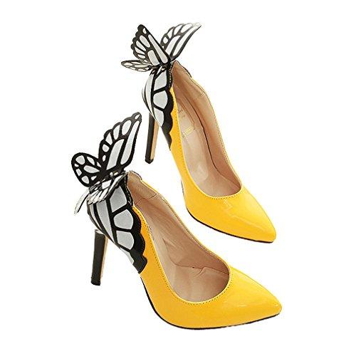 Xianshu Mariposa boca baja con punta dedo del pie zapatos de tacón alto(Amarillo-39)