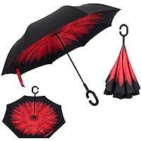 Ombrello invertito doppio strato contro manico grande protezione dal vento a forma di raggi ultravioletti C-Destra e protezione bag