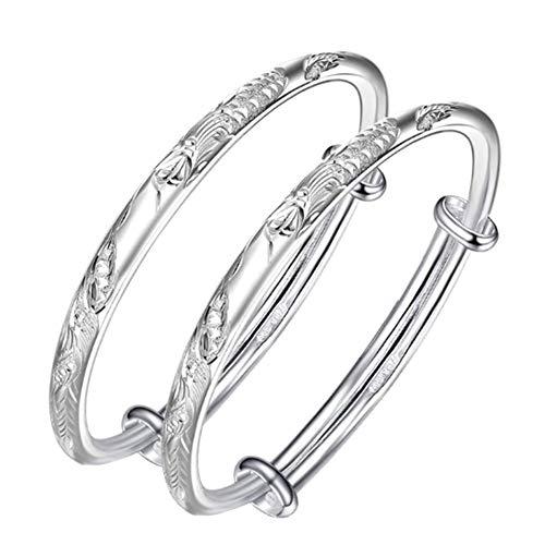 XINGYU Erweiterbares Baby-Armband, 999er Taufarmreif aus Sterlingsilber im Gratis-Geschenkkarton/Geschenkbeutel, Silver (Erweiterbare Armbänder Mit Charms)