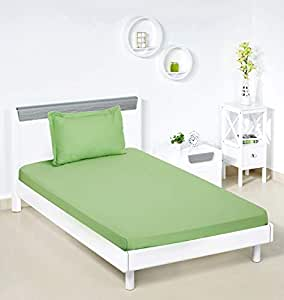 Amazon Brand - Solimo Solid 144 TC 100% Cotton Single Bedsheet with 1 Pillow Cover, Apple Green