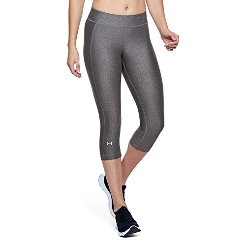 Under Armour Women's HeatGear Armour Capris, Charcoal Light Heather/Green Typhoon, XX-Large (Under Armour Polos Frauen)