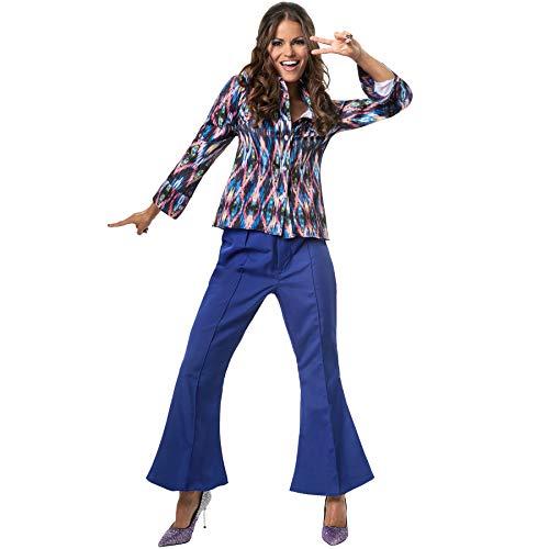 Kostüm 70er Jahre Disco Queen - dressforfun 900380 - Damenkostüm Disco Queen, Gemusterte Langarm-Bluse und Schlaghose (XXL | Nr. 302164)