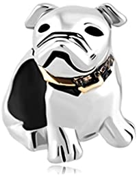 Uniqueen joyas Alemania Bulldog Pet Animal charms Bead venta barato para Pandora/Troll/Chamilia pulsera