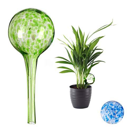 Relaxdays Bewässerungskugel 2er Set, dosierte Bewässerung Pflanzen u. Blumen, Gießhilfe Büro, Urlaub, Ø 6 cm, Glas, grün