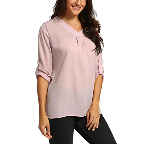 HET Women Summer Kurzarm Mode Persönlichkeit Lady Chiffon Loose Irregular Half Sleeve Casual Tops Shirt Blouse (L, Rosa) (College Kostüme Für Jungs)