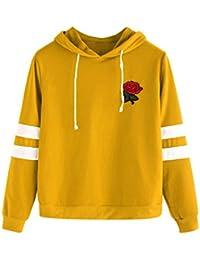 SOLY HUX Damen Rosefleck Gestreift Kapuzenpullover Sweatshirt,Damen Kapuzen  Pullover Streifen Auf Den Ärmeln Rose Flicken mit… 9945f6dc7f