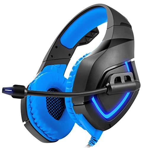 RQINW Computer-Elektro-Wettkampfspiel Headset Head Wear Anti-Geräusch-Starke Bass-Kopfhörer Helle Farben und verschleißfest, Blau