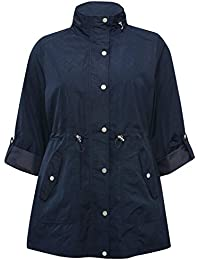 M&Co Ladies Plus Size Tabbed Three Quarter Length Sleeve Drawstring Zip and Popper Fastening Parka Coat
