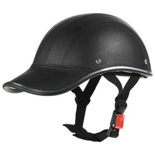 HaiMa Casque De Moto Réglable Demi-Visage Casquette De Baseball Style-Noir