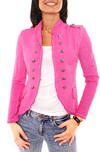 Easy Young Fashion Damen Vintage Military Jerseyblazer Pink
