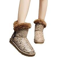 Geili Damen Winterschuhe Warm Gefütterte Kurz Boots Stiefeletten mit Fell Outdoor Mode Bling Schneestiefel Flache... preisvergleich bei billige-tabletten.eu