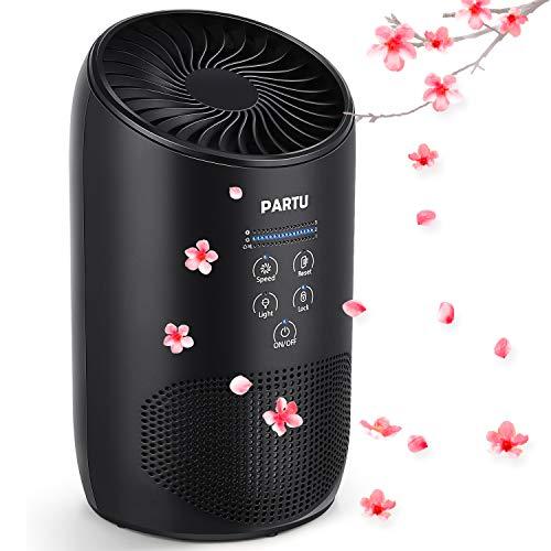 PARTU Luftreiniger Air Purifier HEPA mit Duft-Schwamm 3-Stufen Filterung Luftreiniger filter geeignet für Allergiker 100{e34bc00ca2438154c273dc18d2a4a5b448216d983a6461dc5513b6714edd2b6d} Luftreiniger Ohne Ozon Filtern 99,97{e34bc00ca2438154c273dc18d2a4a5b448216d983a6461dc5513b6714edd2b6d} Allergie Staub Pollen
