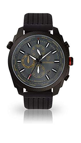 DETOMASO Discoverer II Herren-Armbanduhr Chronograph Analog Quarz schwarzes Edelstahlgehäuse graues Zifferblatt - Jetzt mit 5 Jahren Herstellergarantie (Silikon - Schwarz)