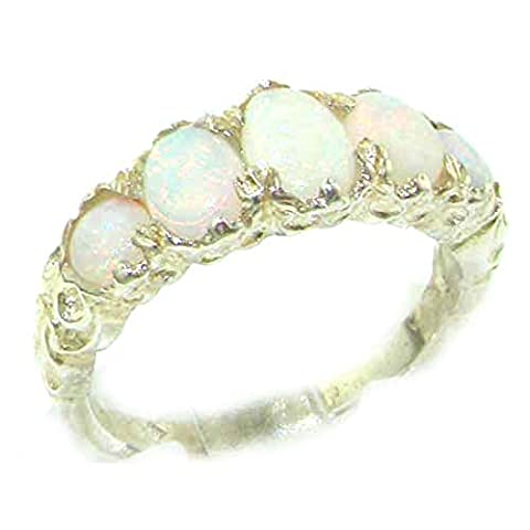 High Quality Solid Sterling Silver Natural Opal English Victorian Ring - Size M 1/2 - Finger Sizes K to Z Available - Perfect gift for Anniversary, Engagement,