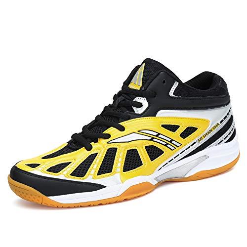 katliu Herren Damen Badmintonschuhe Indoor Hallensportschuhe Squashschuhe Outdoor Sport Tennis Schuhe Mesh Atmungsaktiv Turnschuhe H-Gelb,44 EU