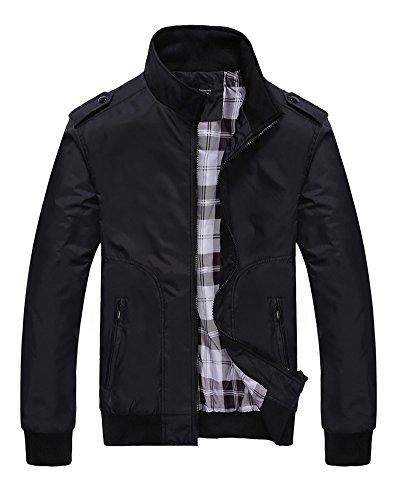 Quge Hombre Casual Chaqueta Jacket Cazadora Mangas Largas Cierre De Cremallera Outwear Tops Negro S