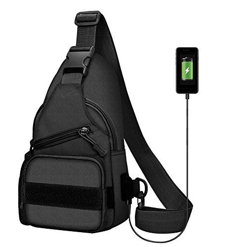 twinkbling Brust Sling Bag Umhängetasche Rucksack Schulter Sling Pack mit USB Lade-Port und Wasser Flasche Halter für Outdoor Wandern Camping, schwarz