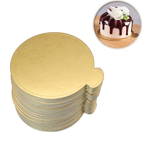 Maygone Einweg-Kuchenbretter aus Pappe, 8 cm, goldfarben, 100 Stück (Kuchen Kreise Gold)