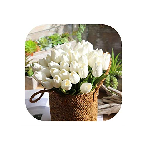 Strawberryran Künstliche Blumen 31pcs / Lot Pu Gefälschte Real Touch für Hochzeitsdekoration Zuhause-Party-Dekoration, Open Weiße Tulpen