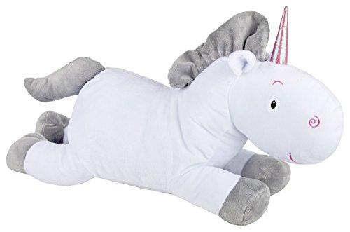 Aminata Kids – süßes Kuscheltier Kissen Einhorn groß in Weiß und Grau á 35 cm aus 100% Polyester mit Samt Oberfläche Plüschtier Schmusetier Stofftier Dekokissen Sofakissen Einhörner Unicorn Pferd