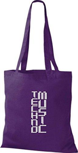 ShirtInStyle Stoffbeutel Musik Beutel Techno Music Baumwolltasche Beutel, diverse Farbe purple