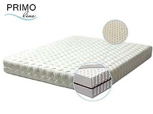 Primo Line Latexmatratze Kokos - 7 Zonen orthopädische Matratze 80x200 H2 mit Naturkokosplatten Höhe 20cm RG 65 (bis 95 kg) - Bezug waschbar mit Reißverschluss - ÖKO TEX® zertifiziert