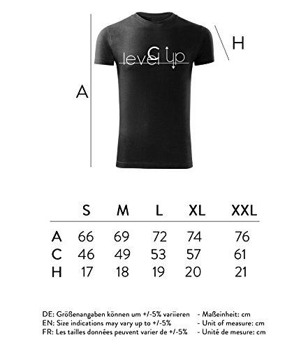 Herren Shirt level up design schwarz & weiß Motiv - T-Shirt Poloshirt mit Motiv - Neu S - XXL Schwarz