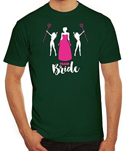 Junggesellenabschieds JGA Hochzeit Herren T-Shirt mit Devil Team Bride Motiv von ShirtStreet Dunkelgrün