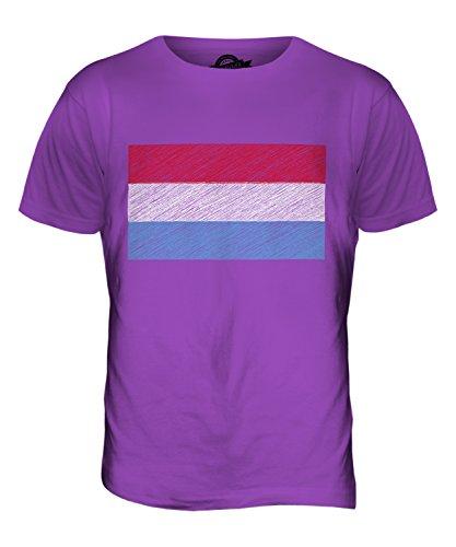 CandyMix Lussemburgo Bandiera Scarabocchio T-Shirt da Uomo Maglietta Viola