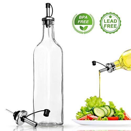 Janolia Öl Glasflasche, Olivenöl Dispenser, Essigflasche, mit Ausgießer aus Edelstahl, 500 ml