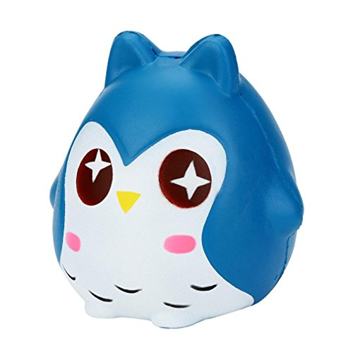 ug, mamum Squeeze Jumbo Stress Kombination Weiche Eule Puppe Duft langsam Rising Spielzeug Geschenke Einheitsgröße blau (Baby Fußabdruck Cutter)