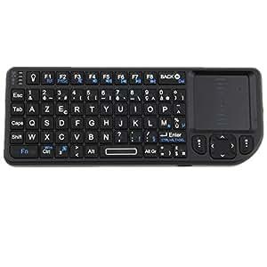 Mini Clavier 2.4GHz Mini clavier sans-fil (wireless)RT-MWK0+AZERTY (version française) compatible avec Raspberry Pi, tietel , android mini PC , Google Android TV-Piles au lithium-ion rechargeable (Marque Rii)(Pas compatible avec Samsung Smart TV)