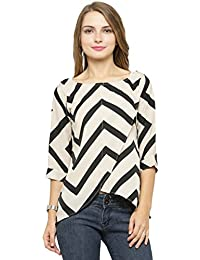 Enchanted Drapes Womens' Black Skin Stripes Crepe Top