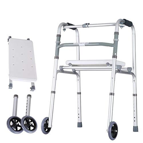 Aluminium Gehhilfen, Duty Folding Walker Mit 2 RäDern FüR Senioren, Erwachsene Extra Wide Vorderrad Walker, Gehhilfe Leichtgewicht, MobilitäTshilfe FüR Behinderte