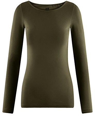 oodji Collection Donna T-Shirt con Maniche Lunghe Verde (6800N)