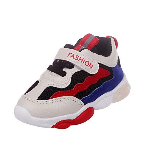 UOMOGO LED Scarpe Sportive per Bambini Ragazze e Ragazzi 7 Colori USB Carica Lampeggiante Luminosi Running Sneakers Traspirante Basso Ultraleggero Sport Baskets Shoes per Ragazze e Ragazzi 0-6 Anni