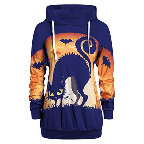 LILIGOD Damen Halloween Langarm Pullover Beiläufiger Langer Bluse Sexy Lose Oberteile T-Shirt Mode Größe Sweatshirt Herbst Kapuzenpullover Tops Hoodie Elegant Tuniken