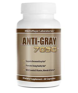 Anti-Gray Hair 7050 - Anti Cheveux Gris Naturel composé de catalase, de prêle et de Saw Palmetto. 60 Capsules. Complément alimentaire de haute qualité. Pour retrouver une couleur de cheveux naturelle et naturellement.