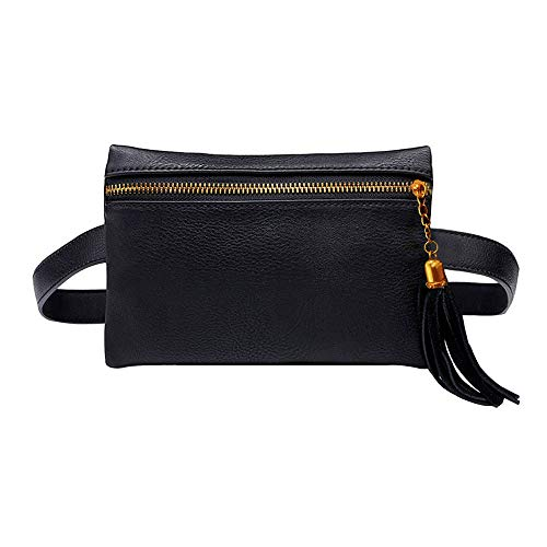 AiSi Kleine Modern Taillenbeutel Hüfttasche Bauchtasche mit Quaste Verstellbaren Abnehmbaren Riemen aus PU Kunstleder für Damen Schwarz