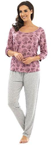 TomFranks, langer Winter-Schlafanzug für Damen aus Polycotton, Alarm/Cuppa bedruckter Pyjama, Nachtwäsche Set Gr. 34/36, Pink Tree Pattern Top/Grey Pants (Leopard-print-flanell-pyjama)