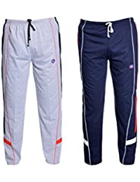 VIMAL Grey And Navy Blue Men's Cotton Trackpants (Pack Of 2)