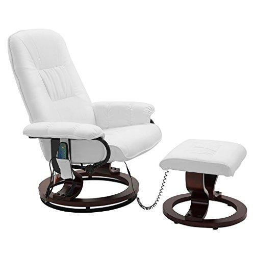 Preisvergleich Produktbild LANGRIA Massagesessel Electric Massage-Stuhl Wärmebehandlung mit PU-Leder und Fußstütze,  Verstellbarer,  360-Grad-schwenkbare,  Hölzerne Basis,  weiß
